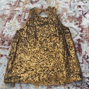 French Connection Gold Sequin Tank Size 2